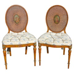 Adams Style Painted Caned Side Chairs a Pair