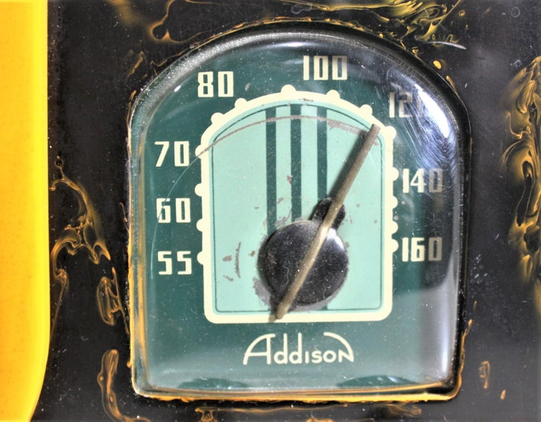 Addison Art Deco Model B2E Black & Yellow Marbled Catalin 'Waterfall' Tube Radio For Sale 7