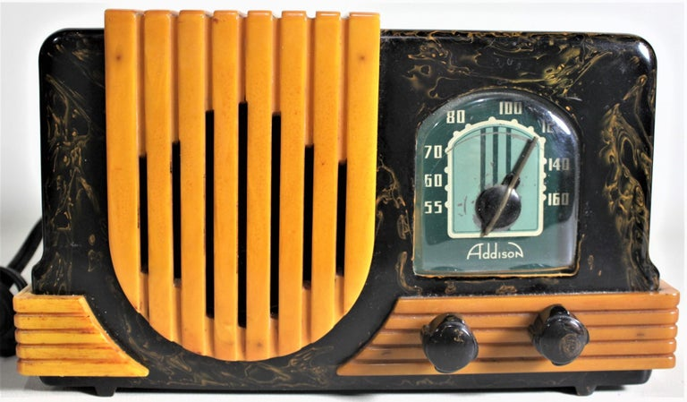 Addison Art Deco Model B2E Black & Yellow Marbled Catalin 'Waterfall' Tube Radio For Sale 8