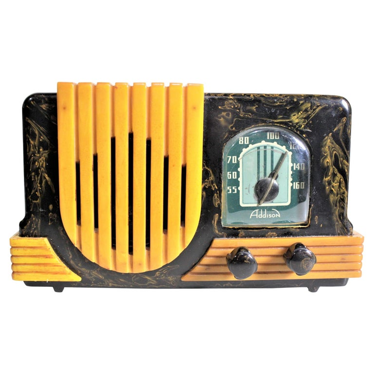 Addison Art Deco Model B2E Black & Yellow Marbled Catalin 'Waterfall' Tube Radio For Sale