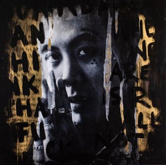"Contemporary street artist, gold street art, gold painting, Pop Art, ""Mean Mug"""