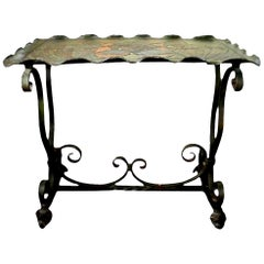 Addison Mizner Inspired Arts & Crafts Wrought Iron Tray-Top Table