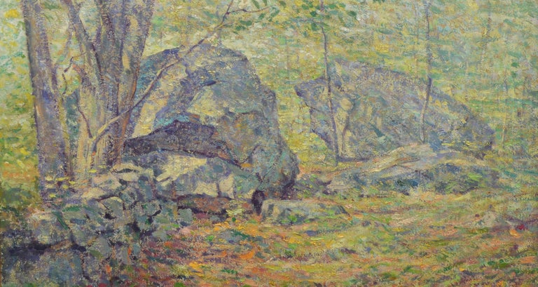 Antique American Pointillist Forest Landscape Oil Painting by Addison T. Millar For Sale 1