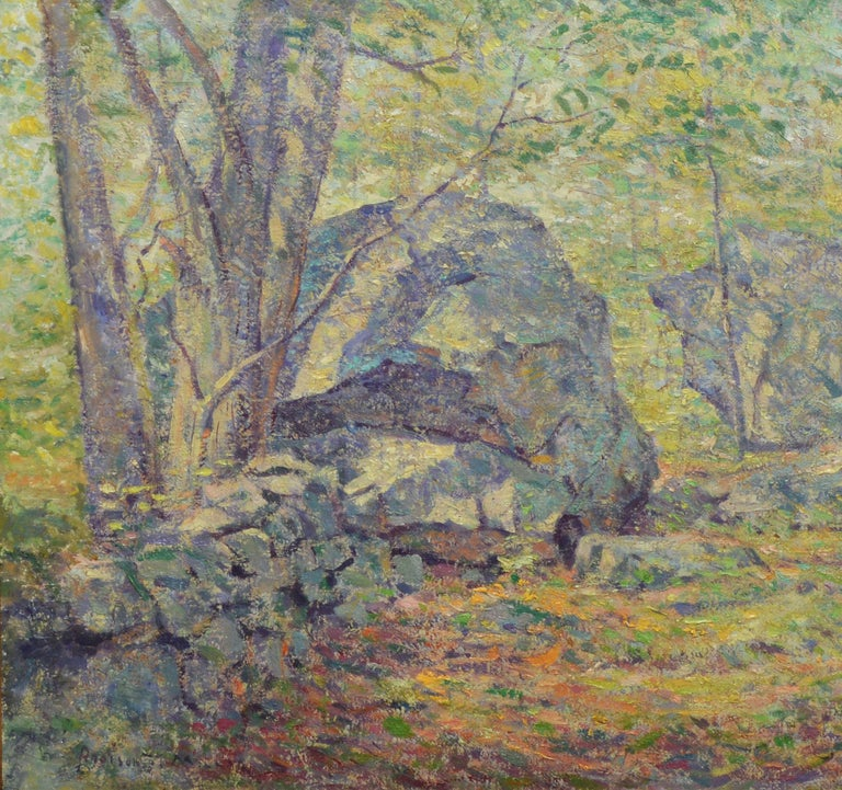 Antique American Pointillist Forest Landscape Oil Painting by Addison T. Millar For Sale 3