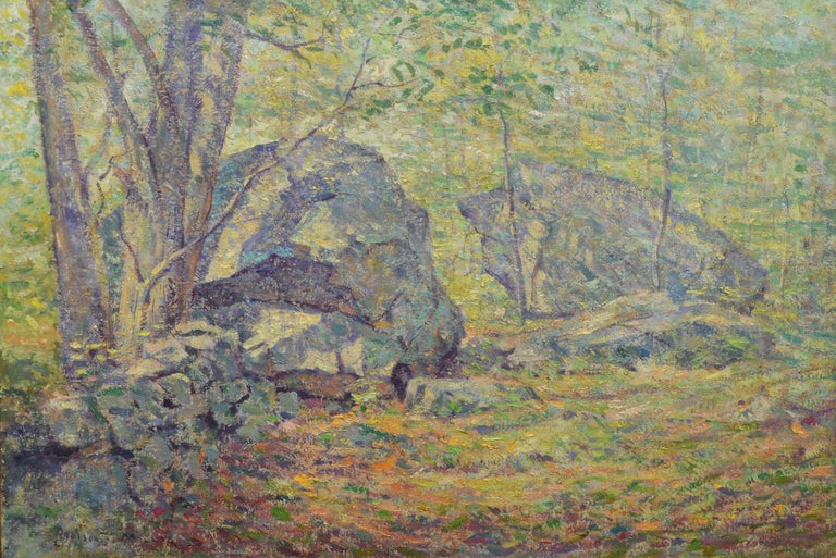Antique American impressionist painting of a forest interior by Addison Thomas Millar  (1860 - 1913).  Oil on canvas, circa 1900.  Signed.  Displayed in a period giltwood frame.  Image, 24