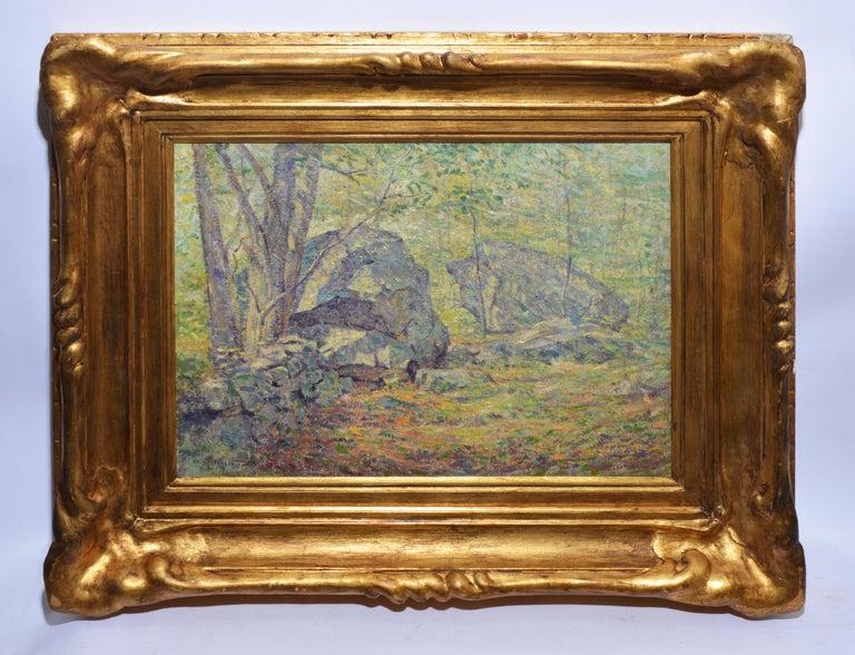 Antique American Pointillist Forest Landscape Oil Painting by Addison T. Millar - Brown Landscape Painting by Addison Thomas Millar