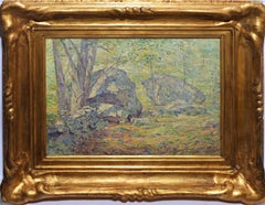 Antique American Pointillist Forest Landscape Oil Painting by Addison T. Millar
