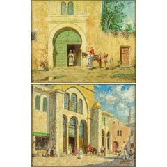"""Orientalist painting """"The Palace After Basha and a Cavalier by the Green Door"""""""