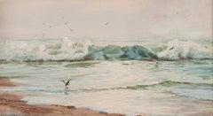 Seascape, Coastal Scene in Pastel by Addison Thomas Millar (1860-1913, American)