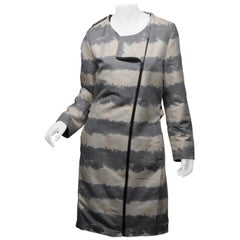 Address Size 38 Grey Striped Car Coat