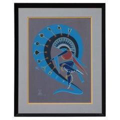Adee Dodge Navajo Artist Original Gouache, Knife Wing Dancer in Blue, 1971