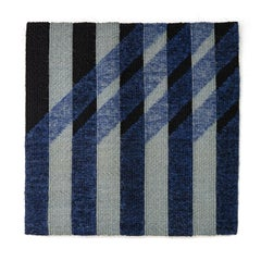 Angled Blue, Contemporary Geometric Tapestry by Adela Akers