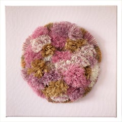 Fading Hydrangeas - Textile Art on Canvas (Pink + White + Gold)