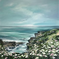Adele Riley, Aqua Tide, Original Coastal Painting, Affordable Art