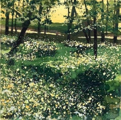 Adele Riley, Buttercup Meadow, Contemporary Landscape Art, Affordable Art