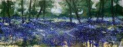 Adele Riley, Dusk in Bluebell Woods, Contemporary Landscape Art, Affordable Art