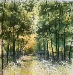 Adele Riley, Endless Light, Affordable Art, Woodland Landscape Art