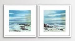 Adele Riley, Priest Cove Diptych, Seascape Art, Cornish Coast Art