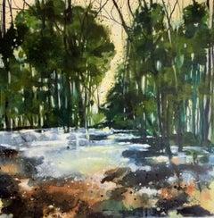 Adele Riley, Suns Mirror, Original Woodland Painting, Contemporary Art
