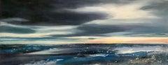 Adele Riley, The Last Light, Original Seascape Painting, Affordable Art