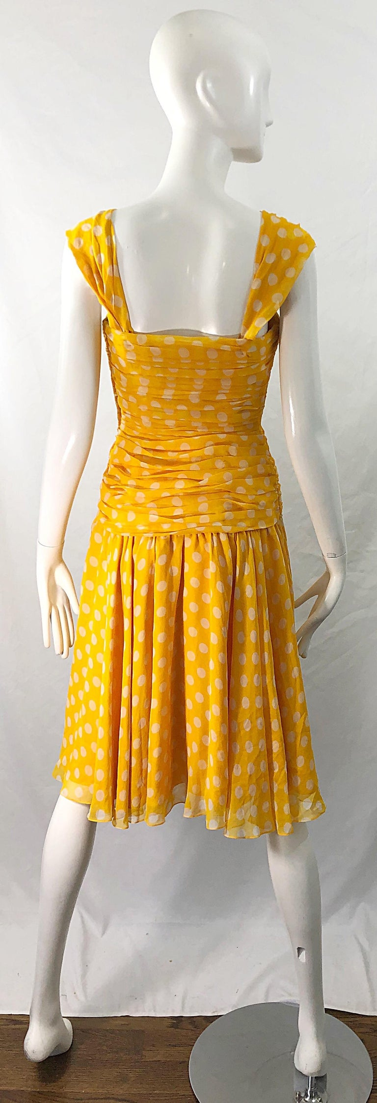Adele Simpson 1980s Size 4 Yellow White Silk Chiffon Polka Dot Vintage 80s Dress For Sale 8