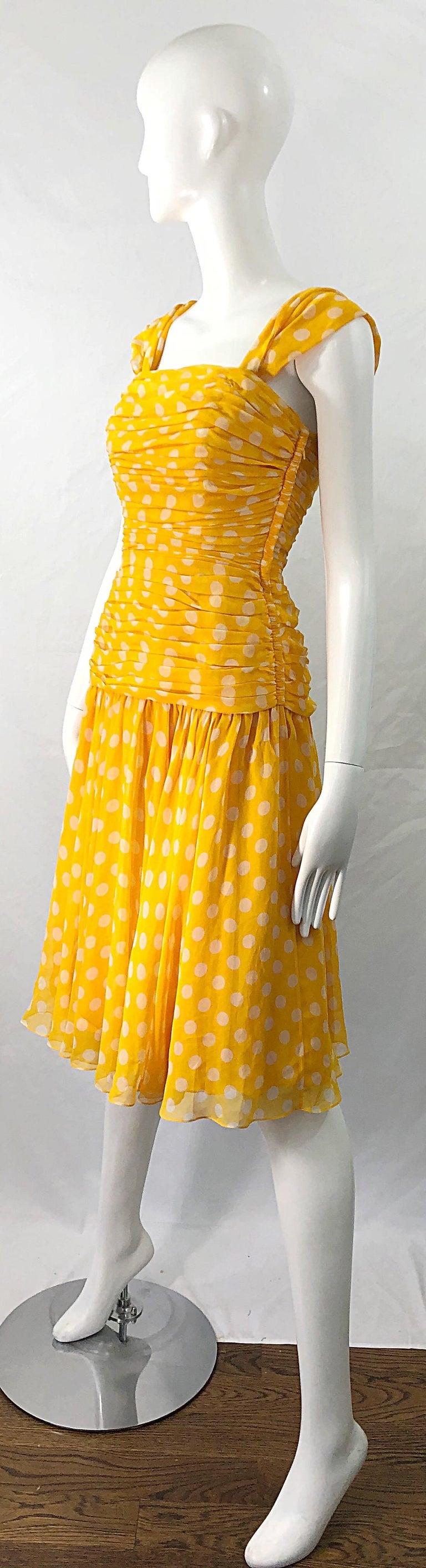 Adele Simpson 1980s Size 4 Yellow White Silk Chiffon Polka Dot Vintage 80s Dress For Sale 1