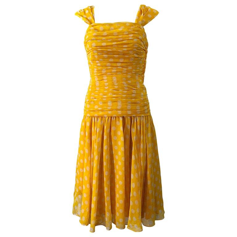 Adele Simpson 1980s Size 4 Yellow White Silk Chiffon Polka Dot Vintage 80s Dress For Sale