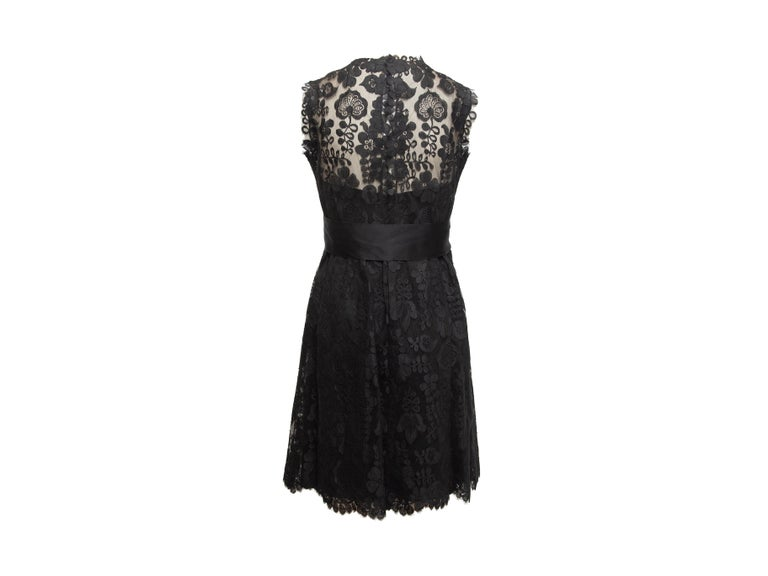 Adele Simpson Black Lace Sleeveless Dress In Good Condition For Sale In New York, NY
