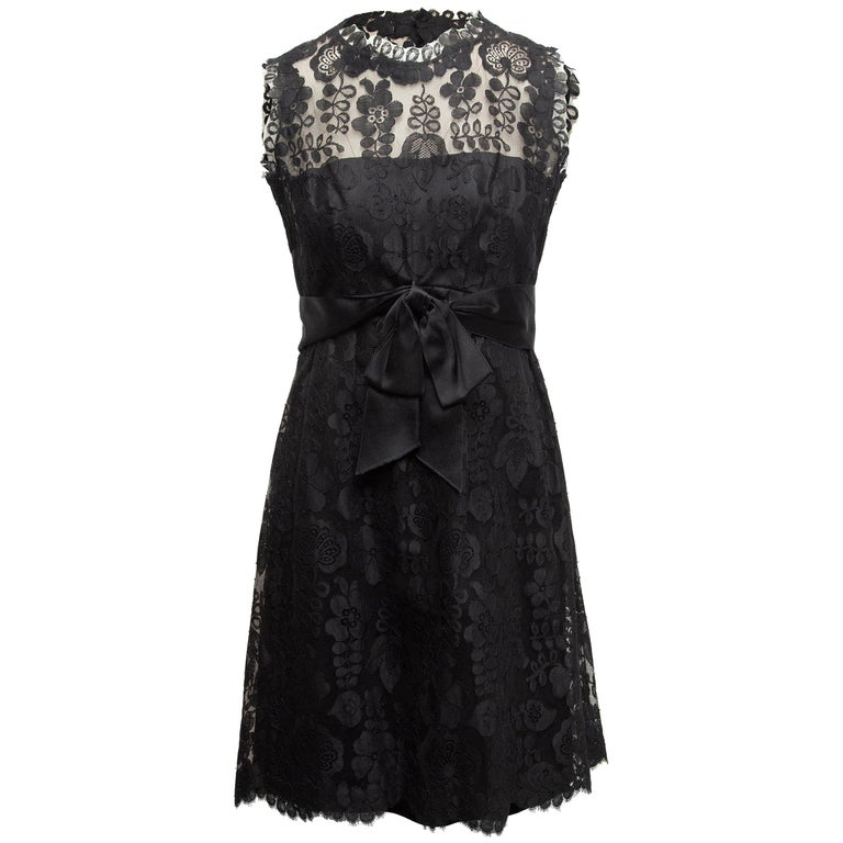 Adele Simpson Black Lace Sleeveless Dress For Sale