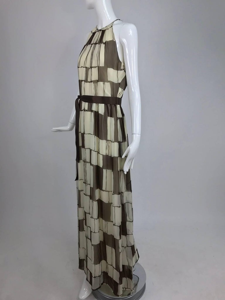 Adele Simpson brown and white silk chiffon halter maxi dress, 1970s For Sale 5