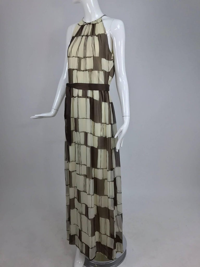 Adele Simpson brown and white silk chiffon halter maxi dress, 1970s For Sale 6