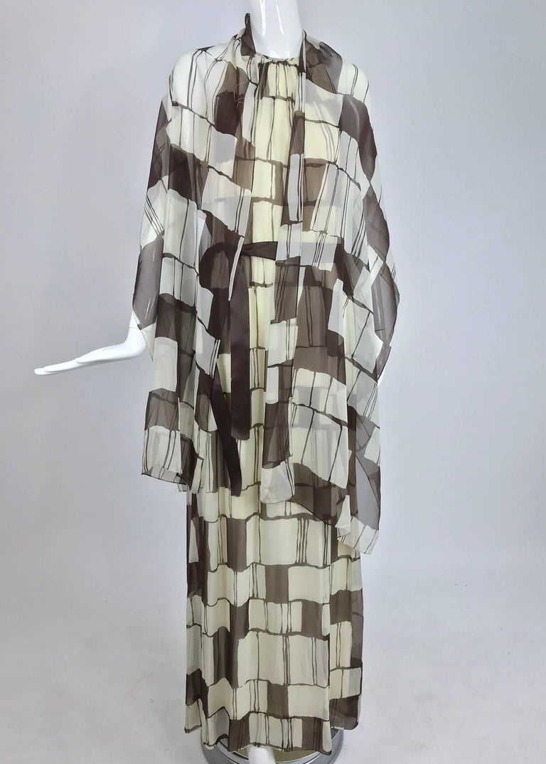 Adele Simpson brown and white silk chiffon halter maxi dress, 1970s For Sale 7