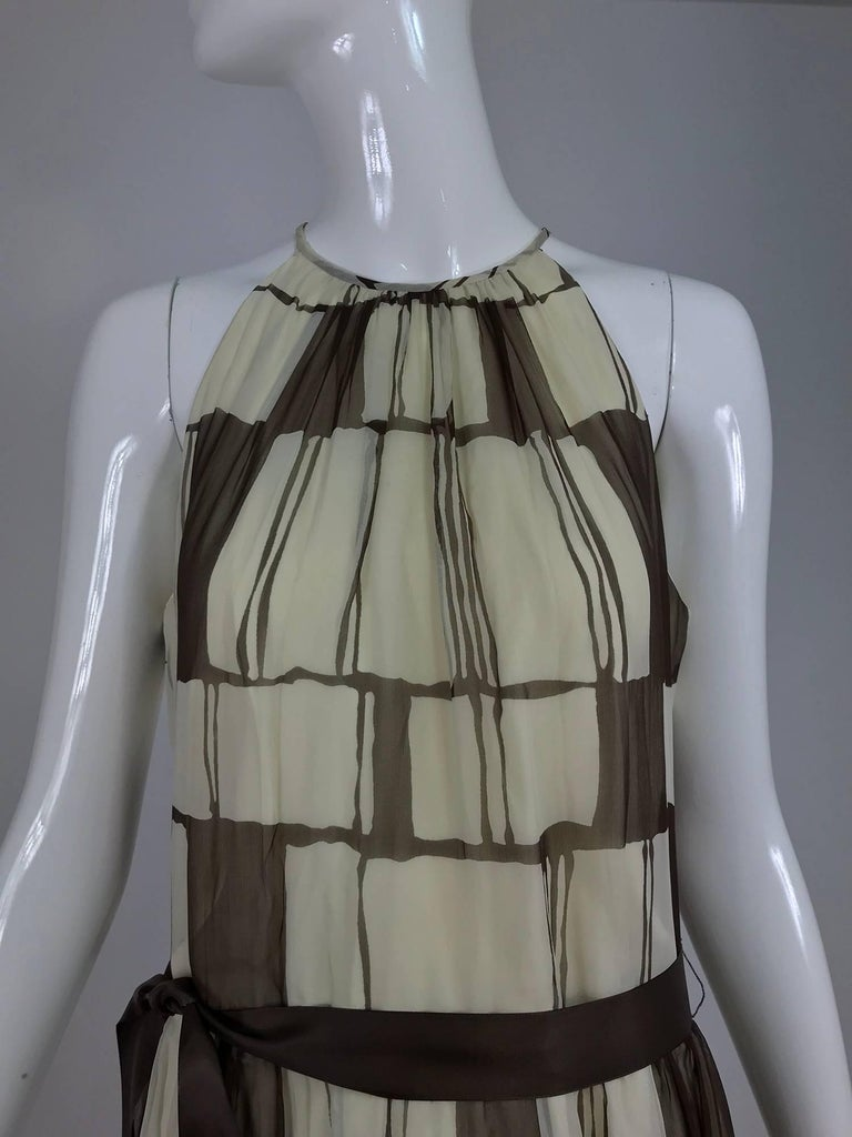 Adele Simpson brown and white silk chiffon halter maxi dress, 1970s For Sale 8