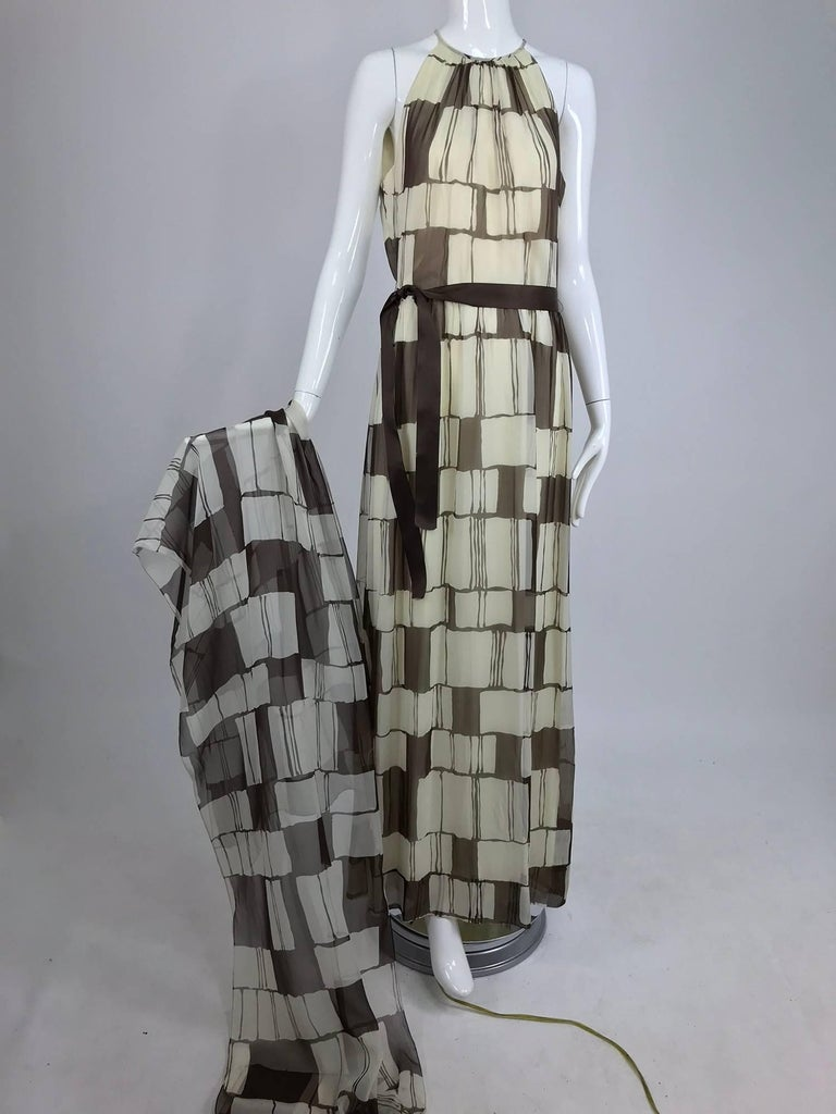 Adele Simpson brown and white silk chiffon halter maxi dress, 1970s For Sale 9