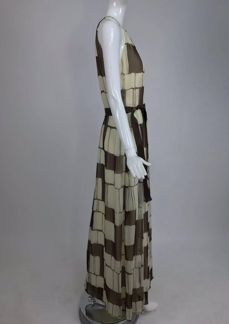Gray Adele Simpson brown and white silk chiffon halter maxi dress, 1970s For Sale