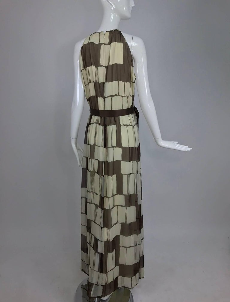 Women's Adele Simpson brown and white silk chiffon halter maxi dress, 1970s For Sale
