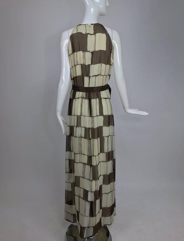 Adele Simpson brown and white silk chiffon halter maxi dress, 1970s For Sale 1