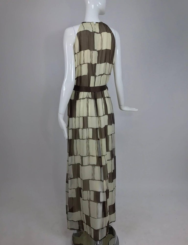 Adele Simpson brown and white silk chiffon halter maxi dress, 1970s For Sale 2