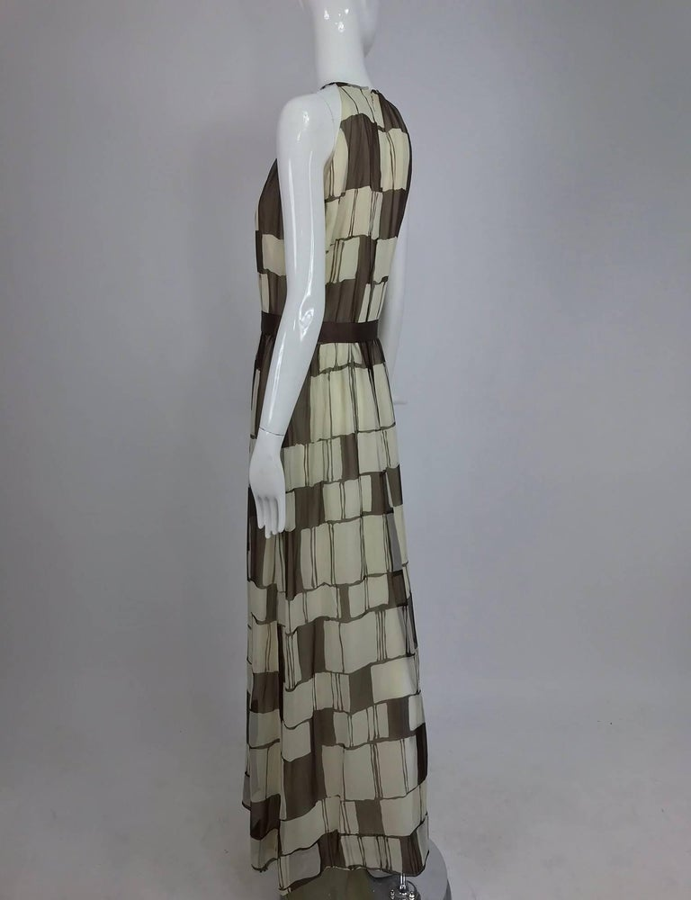 Adele Simpson brown and white silk chiffon halter maxi dress, 1970s For Sale 3