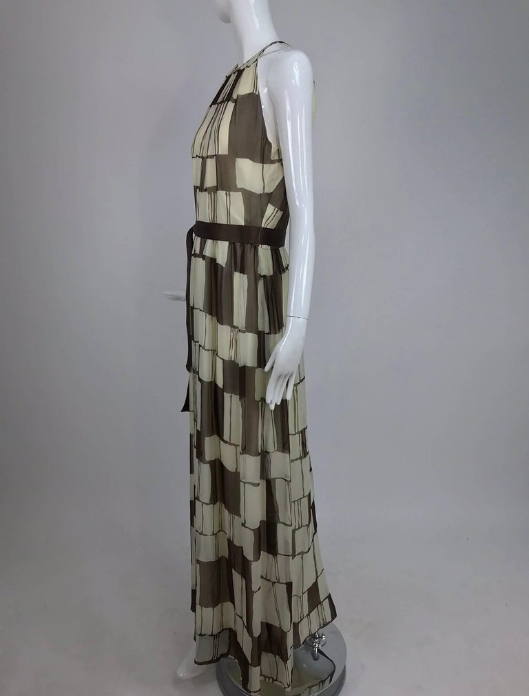 Adele Simpson brown and white silk chiffon halter maxi dress, 1970s For Sale 4