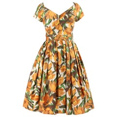 ADELE SIMPSON c.1950s Blooming Tulip Floral Sweetheart Neckline Party Day Dress