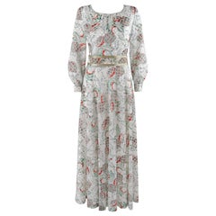 ADELE SIMPSON c.1970's White Multicolor Floral Fruit Print Belted Maxi Day Dress