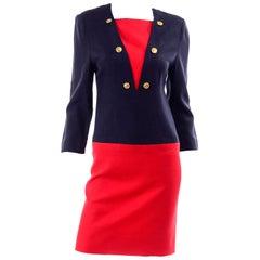 Adele Simpson Red And Navy Blue Linen Blend Sailor Inspired Vintage Dress
