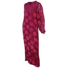 Adele Simpson Ruby Red Silk Cut Velvet Evening Dress, 1980's