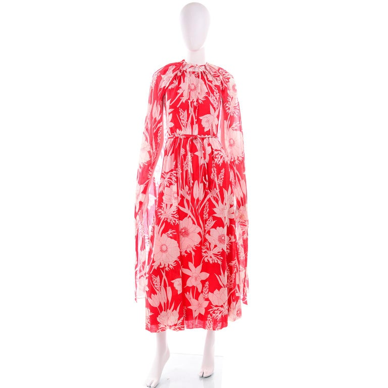 Pink Adele Simpson Vintage 1970s Dress & Cape in Red & White Cotton Floral Print  For Sale