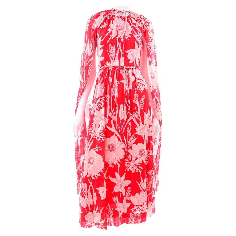 Adele Simpson Vintage 1970s Dress & Cape in Red & White Cotton Floral Print  For Sale