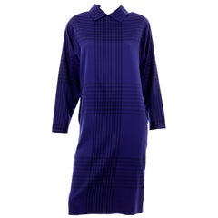Adele Simpson Vintage Blue and Black Plaid Wool Day Dress