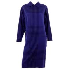 Adele Simpson Vintage Blue and Black Plaid Wool Day Dress