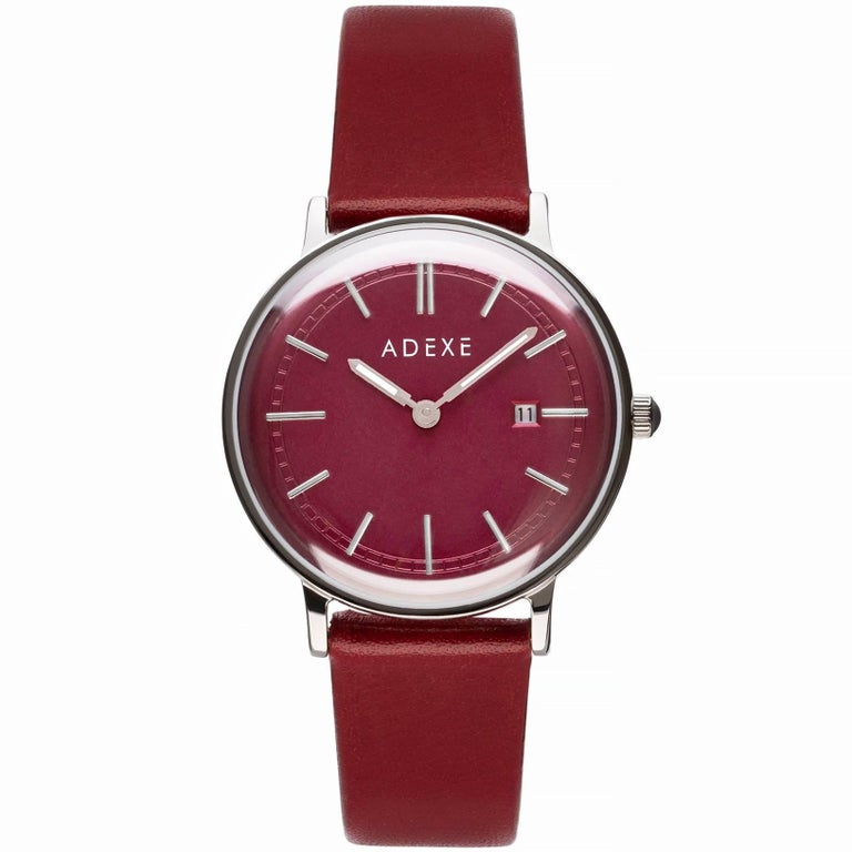 ADEXE Stainless Steel Red Dial Petite Watch