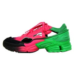 Adidas by Raf Simons Pink/Green/Black Ozweego Replicant Cut Out Sneakers
